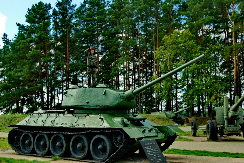 Tank T-34-85 in the territory of the Military and historical complex